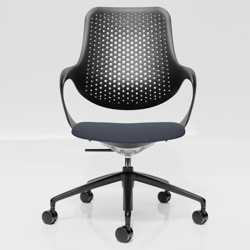 Coza Task Chair with Black Polymer Shell and Grey Upholstered Seat - Black Base