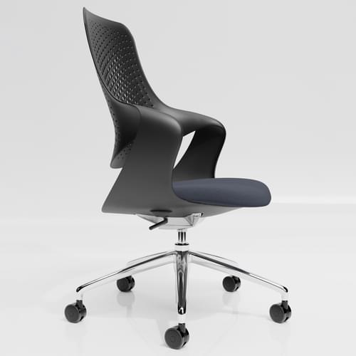 Coza Task Chair with Black Polymer Shell and Grey Upholstered Seat - Chrome Base