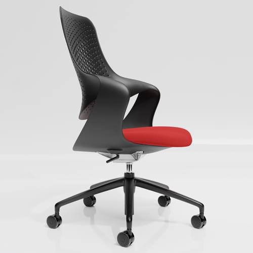 Coza Task Chair with Black Polymer Shell and Red Upholstered Seat - Black Base