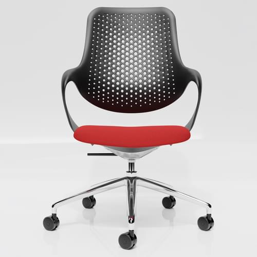 Coza Task Chair with Black Polymer Shell and Red Upholstered Seat - Chrome Base