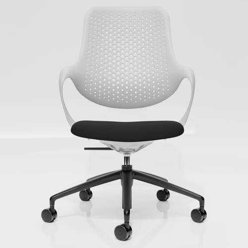 Coza Task Chair with White Polymer Shell and Black Upholstered Seat - Black Base
