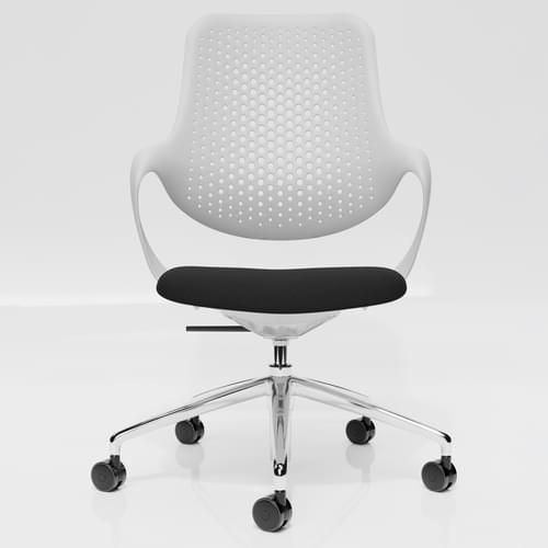 Coza Task Chair with White Polymer Shell and Black Upholstered Seat - Chrome Base