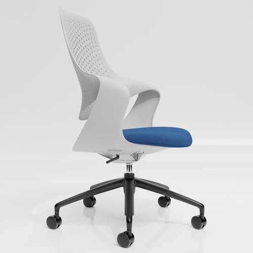 Coza Task Chair with White Polymer Shell and Blue Upholstered Seat - Black Base