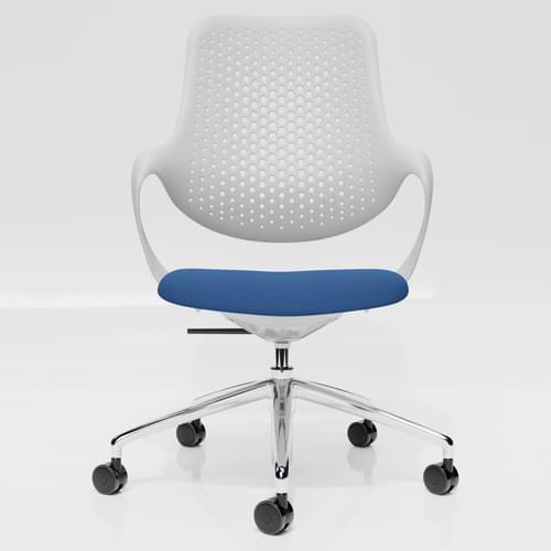 Coza Task Chair with White Polymer Shell and Blue Upholstered Seat - Chrome Base