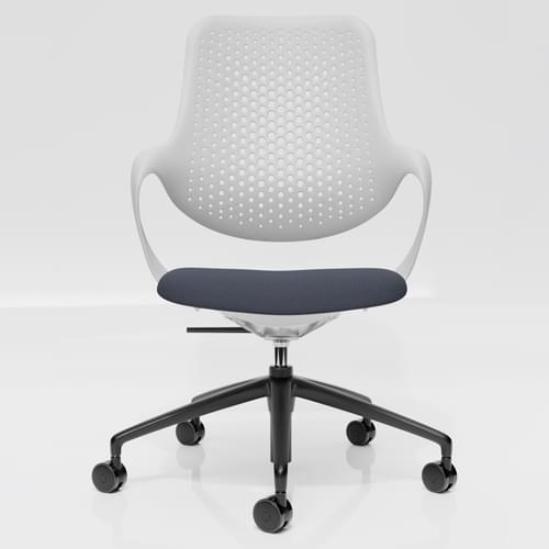 Coza Task Chair with White Polymer Shell and Grey Upholstered Seat - Black Base