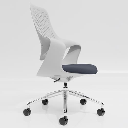 Coza Task Chair with White Polymer Shell and Grey Upholstered Seat - Chrome Base