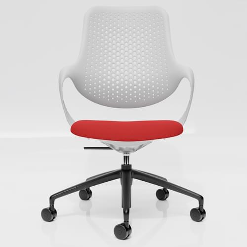 Coza Task Chair with White Polymer Shell and Red Upholstered Seat - Black Base