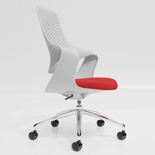 Coza Task Chair with White Polymer Shell and Red Upholstered Seat - Chrome Base