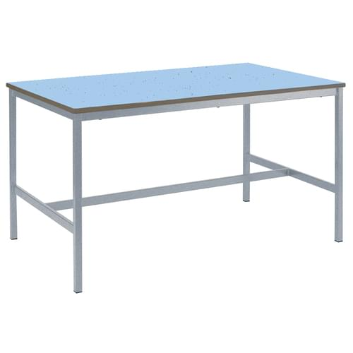 Metalliform Fully Welded School Craft and Science Table - 1500 x 750mm - Speckled Powder Blue 850mm High