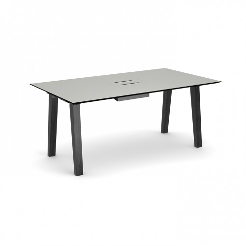 Crew rectangular table 1800mm x 1000mm with white steel tray for data module and solid ash leg frame - made to order