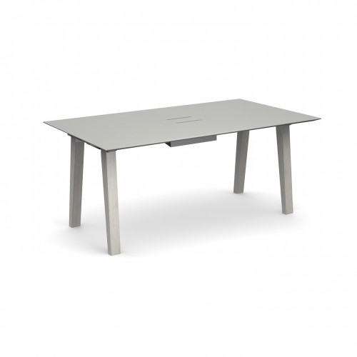Crew rectangular table 1600mm x 1000mm with white steel tray for data module and solid ash leg frame - made to order