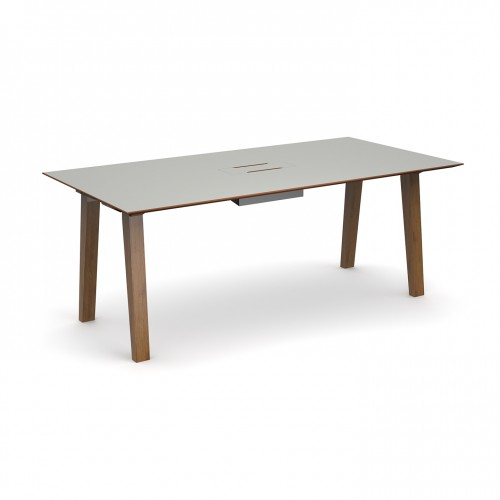 Crew rectangular table 2000mm x 1000mm with white steel tray for data module and solid ash leg frame - made to order