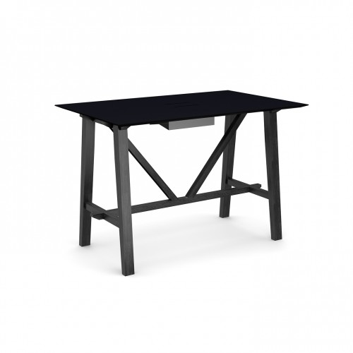 Crew poseur table 1600mm x 1000mm with white steel tray for data module and solid ash leg frame - made to order