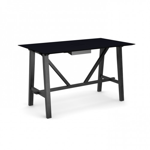 Crew poseur table 1800mm x 1000mm with white steel tray for data module and solid ash leg frame - made to order