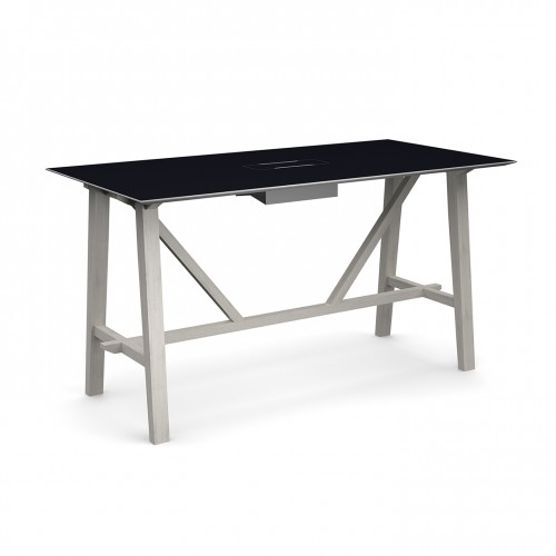Crew poseur table 2000mm x 1000mm with white steel tray for data module and solid ash leg frame - made to order