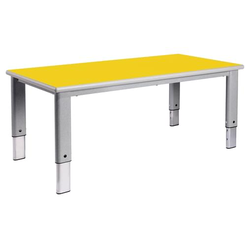 Metalliform Elite Rectangular Height Adjustable Classroom Table 1200 x 600mm - Canary Yellow