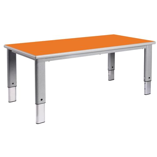 Metalliform Elite Rectangular Height Adjustable Classroom Table 1200 x 600mm - Orange Flame