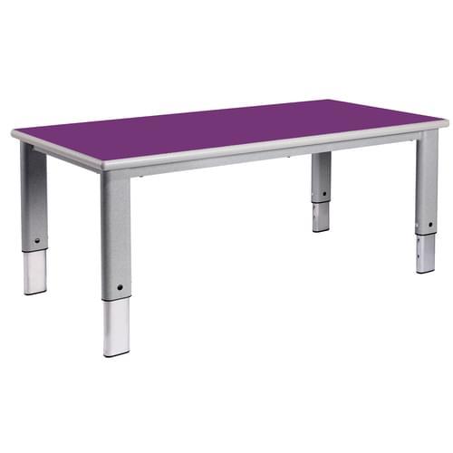 Metalliform Elite Rectangular Height Adjustable Classroom Table 1200 x 600mm - Purple