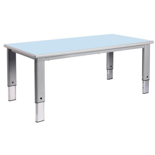 Metalliform Elite Rectangular Height Adjustable Classroom Table 1200 x 600mm - Soft Blue