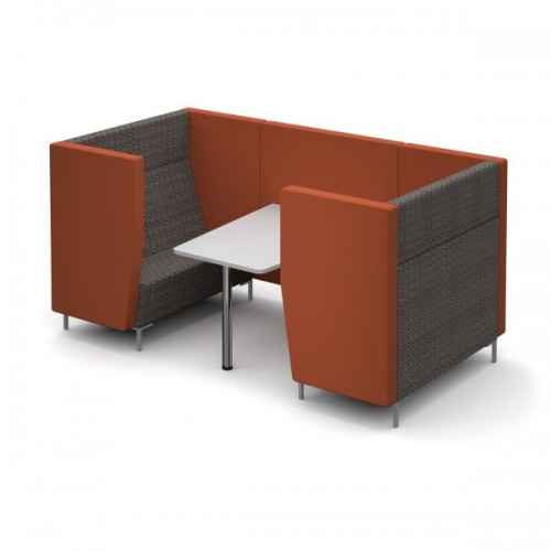 Encore Pod 4 seater with table 2580mm wide with metal legs - made to order