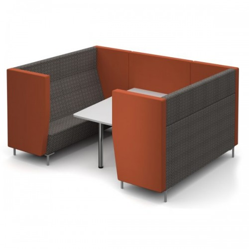 Encore Pod 6 seater with table 2580mm wide with metal legs - made to order