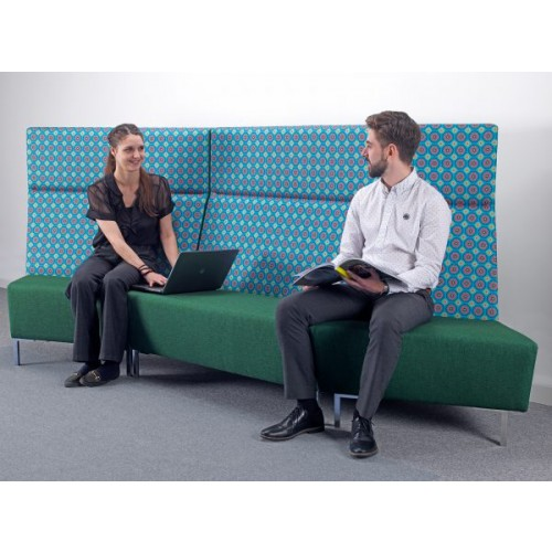 Encore Modular straight double seater bench with left arm and metal legs - made to order