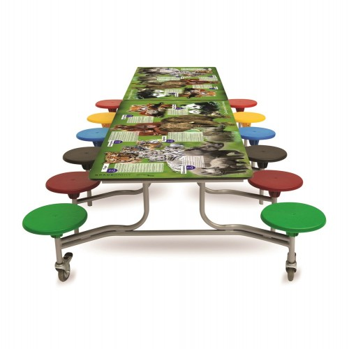 Spaceright 12 Seat Endangered Animals Smart Top Rectangular Folding Secondary School Dining Table