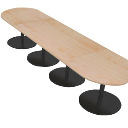Eternal radial end boardroom table 4000mm x 1000mm - black base and oak top