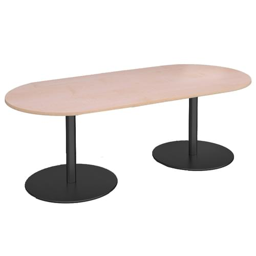 Eternal radial end boardroom table 2000mm x 1000mm - black base and beech top