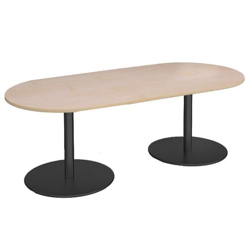 Eternal radial end boardroom table 2000mm x 1000mm - black base and oak top
