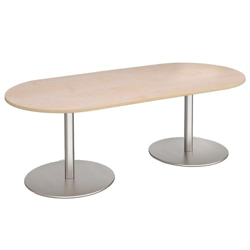Eternal radial end boardroom table 2000mm x 1000mm - brushed steel base and oak top