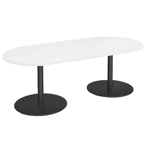 Eternal radial end boardroom table 2000mm x 1000mm - black base and white top