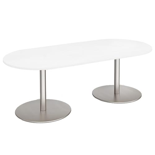 Eternal radial end boardroom table 2000mm x 1000mm - brushed steel base and white top