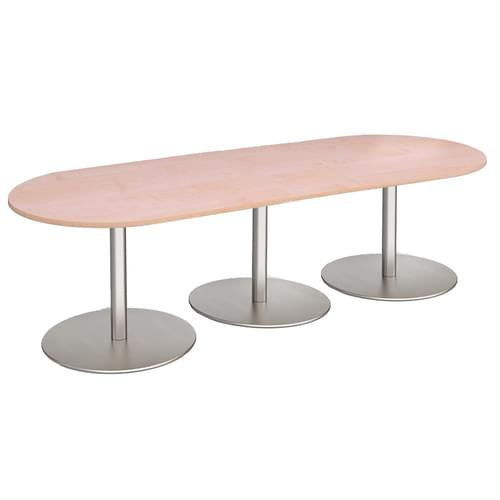 Eternal radial end boardroom table 3000mm x 1000mm - brushed steel base and beech top