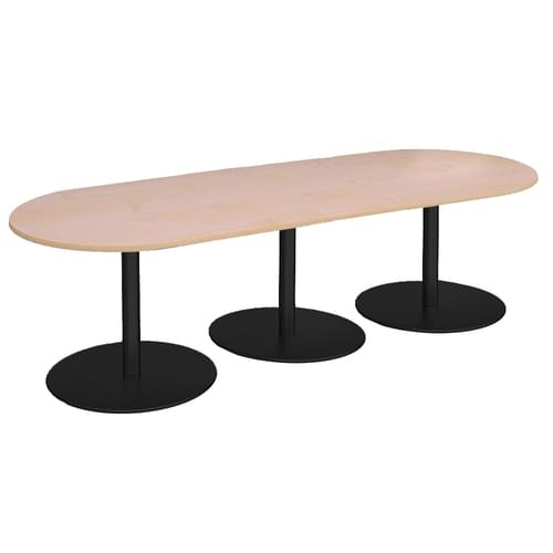 Eternal radial end boardroom table 3000mm x 1000mm - black base and oak top