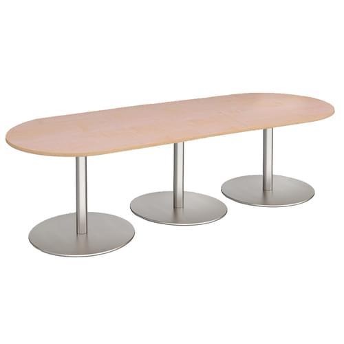 Eternal radial end boardroom table 3000mm x 1000mm - brushed steel base and oak top