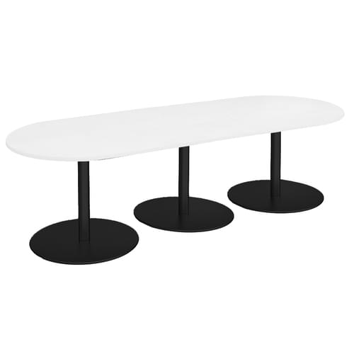 Eternal radial end boardroom table 3000mm x 1000mm - black base and white top