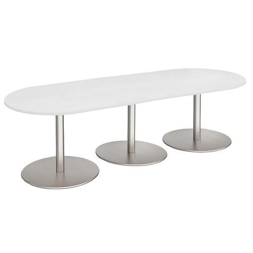 Eternal radial end boardroom table 3000mm x 1000mm - brushed steel base and white top