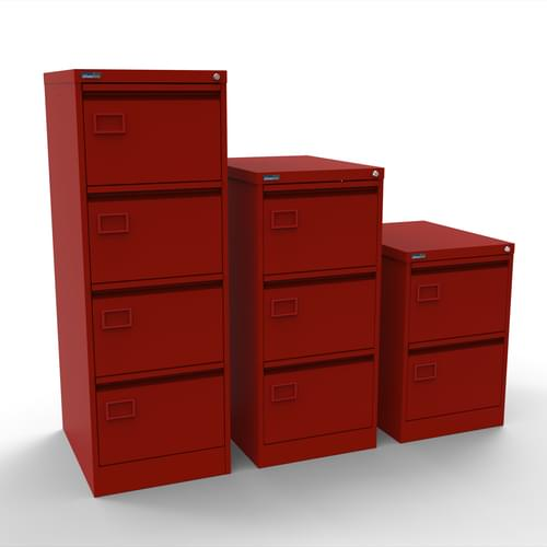 Silverline Executive 3 Drawer Individually Locking Foolscap Filing Cabinet - Red