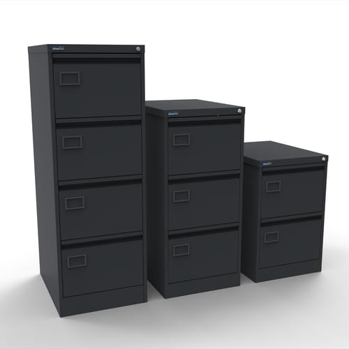 Silverline Executive 4 Drawer Individually Locking Foolscap Filing Cabinet - Graphite Grey