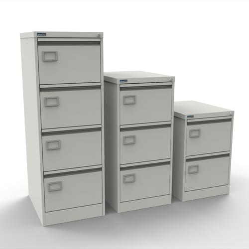 Silverline Executive 2 Drawer Individually Locking Foolscap Filing Cabinet - White