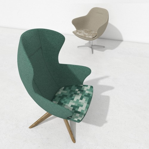 Figaro designer single seater armchair with metal base - made to order