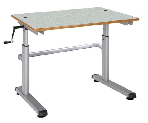 Metalliform Height Adjustable HA200 Classroom Table 700 x 600mm - Grey Speckle