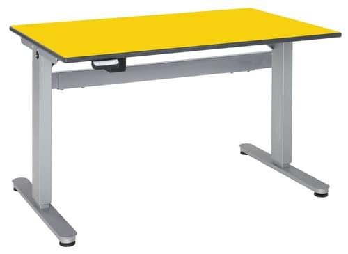Metalliform Motorised Height Adjustable HA800 Wheelchair Accessible Classroom Table 1200 x 750mm - Canary Yellow