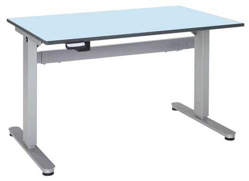 Metalliform Motorised Height Adjustable HA800 Wheelchair Accessible Classroom Table 1200 x 750mm - Soft Blue