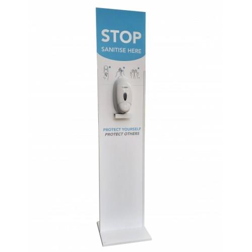 Freestanding Hand Sanitiser Station Floor Sign with 1 Litre Capacity Dispenser
