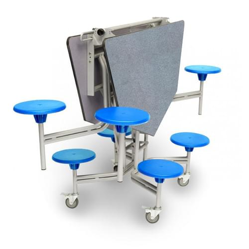 Spaceright 8 Seat Octagonal Mobile Folding Secondary School Dining Table - Blue/Grey