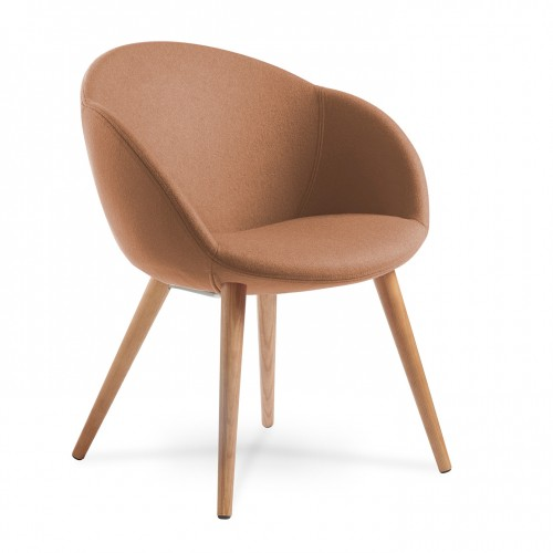 Joss single seater armchair with conical oak legs - made to order
