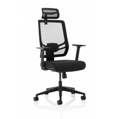 Ergo Twist Black Fabric Seat Mesh Back with Headrest