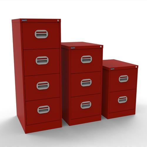 Silverline Kontrax 4 Drawer Elliptical Handle Foolscap Filing Cabinet - Red